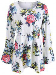 Floral Long Sleeve Plus Size Tee