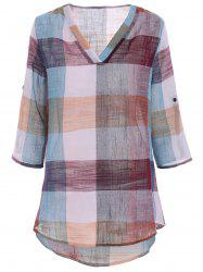 Color Block Plaid Plus Size Linen Blouse