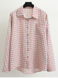 Long Sleeve Plus Size Button Up Checked Shirt
