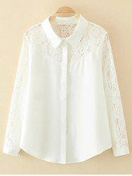 Plus Size Lace Long Sleeve Shirt