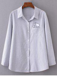 Plus Size Button Up Stripe Formal Shirt