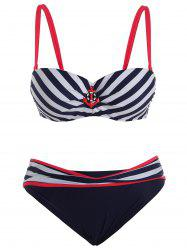 Plus Size Striped Trim Bikini Set