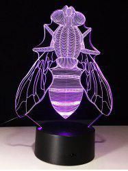 3D visuelle Fly en forme de LED changement de couleur Night Light - Transparent
