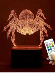 Remote Control 3D Spider LED Color Change Night Light - TRANSPARENT