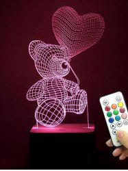 3D Bear LED Color Change Love Confession Night Light - TRANSPARENT