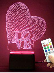 Best Gift 3D Visual Love Heart Color Change Night Light - TRANSPARENT