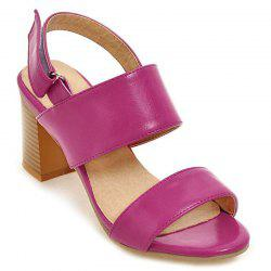 Mid Heel Faux Leather Sandals