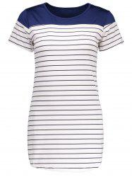 Round Collar Mini Striped T-Shirt Dress