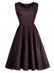 Vintage Sweetheart Neck Polka Dot Ruched Dress