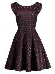 High Waist Polka Dot Cut Out Bowknot Dress