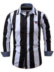 Embroidered Design Vertical Striped Long Sleeve Shirt - BLACK