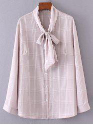 Chiffon Bow Tie Plus Size Blouse