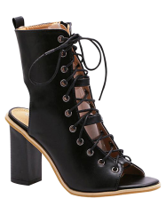 Chunky Heel Lace Up Bootie Sandals