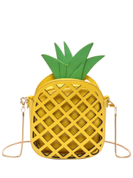 Hollow Out Pineapple Shaped Crossbody Bag - YELLOW