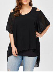 Plus Size Layered Chiffon Open Shoulder Top