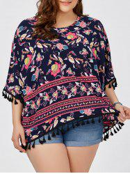 Plus Size Dolman Sleeve Floral Tassel Tunic Top