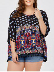 Plus Size Ethnic Printed Dolman Sleeve Tunic Top