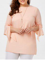 Plus Size Bowtie Bell Sleeve Chiffon Blouse