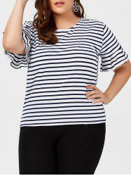 Plus Size Bell Sleeve Stripe Tee