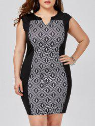 Plus Size Split-Neck Rhombus Dress