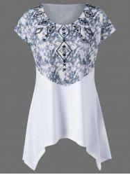 Plus Size Tie Dye Printed Swing T-Shirt - WHITE 4XL