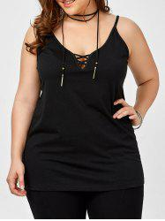 Plus Size Caged Cami Tank Top - BLACK 3XL