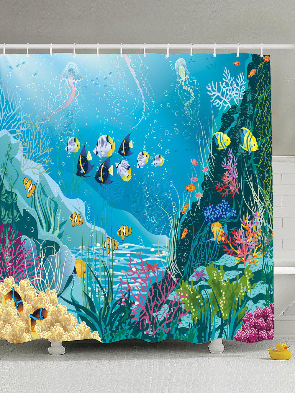 Sea World Print Anti-bacteria Extra Long Shower CurtainHOME<br><br>Size: 180*180CM; Color: LAKE BLUE; Type: Shower Curtains; Material: Polyester; Weight: 0.5400kg; Package Contents: 1 x Shower Curtain 1 x Hooks?Set?;