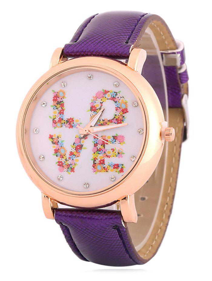 Chic Faux Leather Rhinestone Floral Love Watch