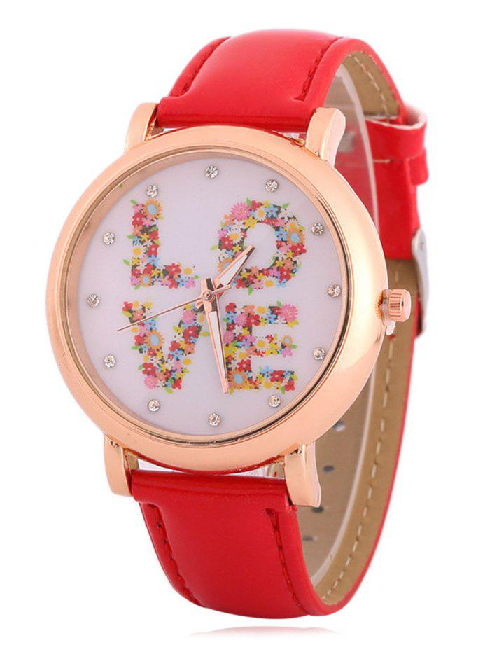 Latest Faux Leather Rhinestone Floral Love Watch