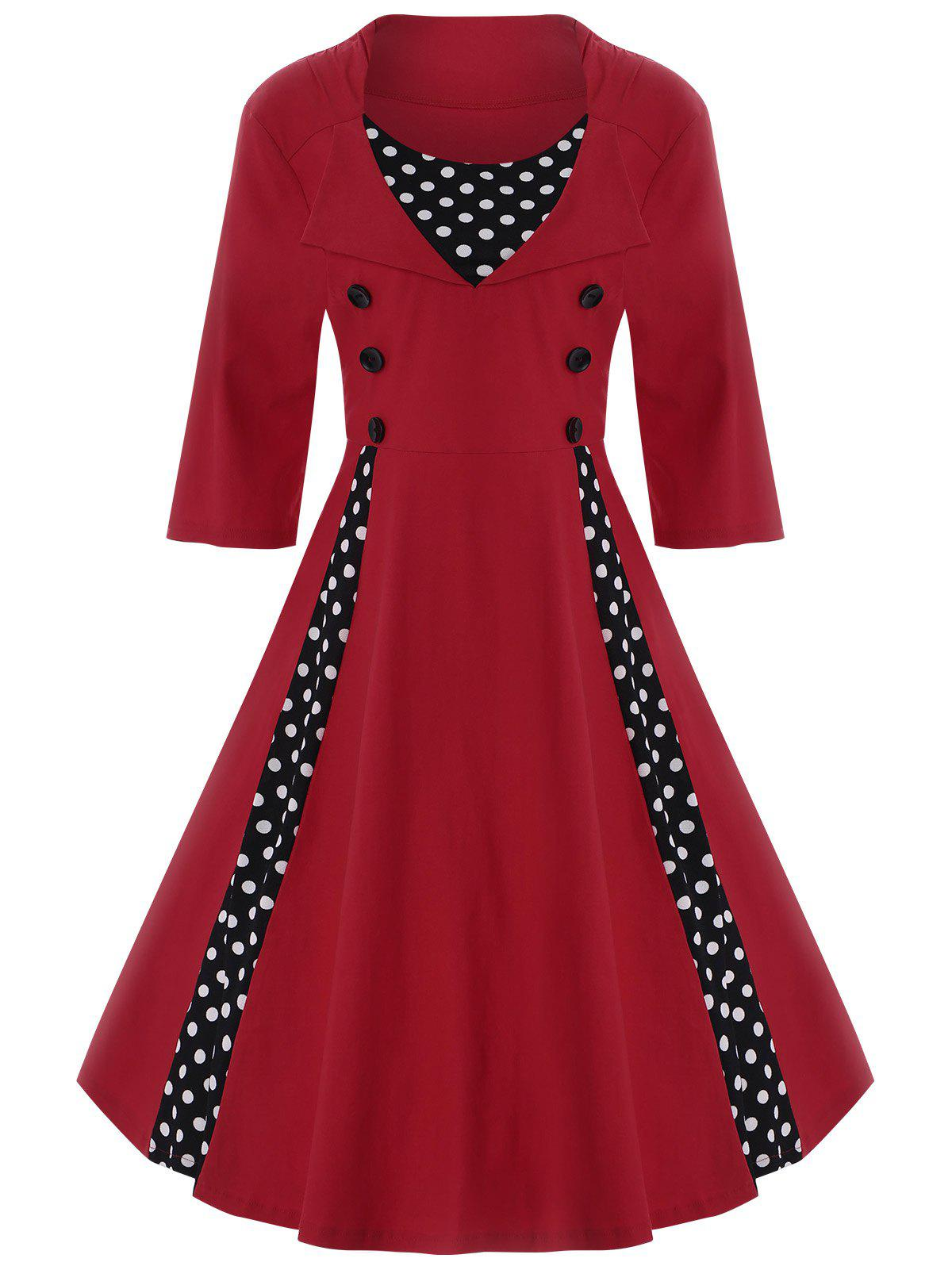 A Line Polka Dot Plus Size DressWOMEN<br><br>Size: 9XL; Color: RED; Style: Vintage; Material: Polyester; Silhouette: A-Line; Dresses Length: Knee-Length; Neckline: Round Collar; Sleeve Length: Half Sleeves; Pattern Type: Polka Dot; With Belt: No; Season: Spring,Summer; Weight: 0.4500kg; Package Contents: 1 x Dress;