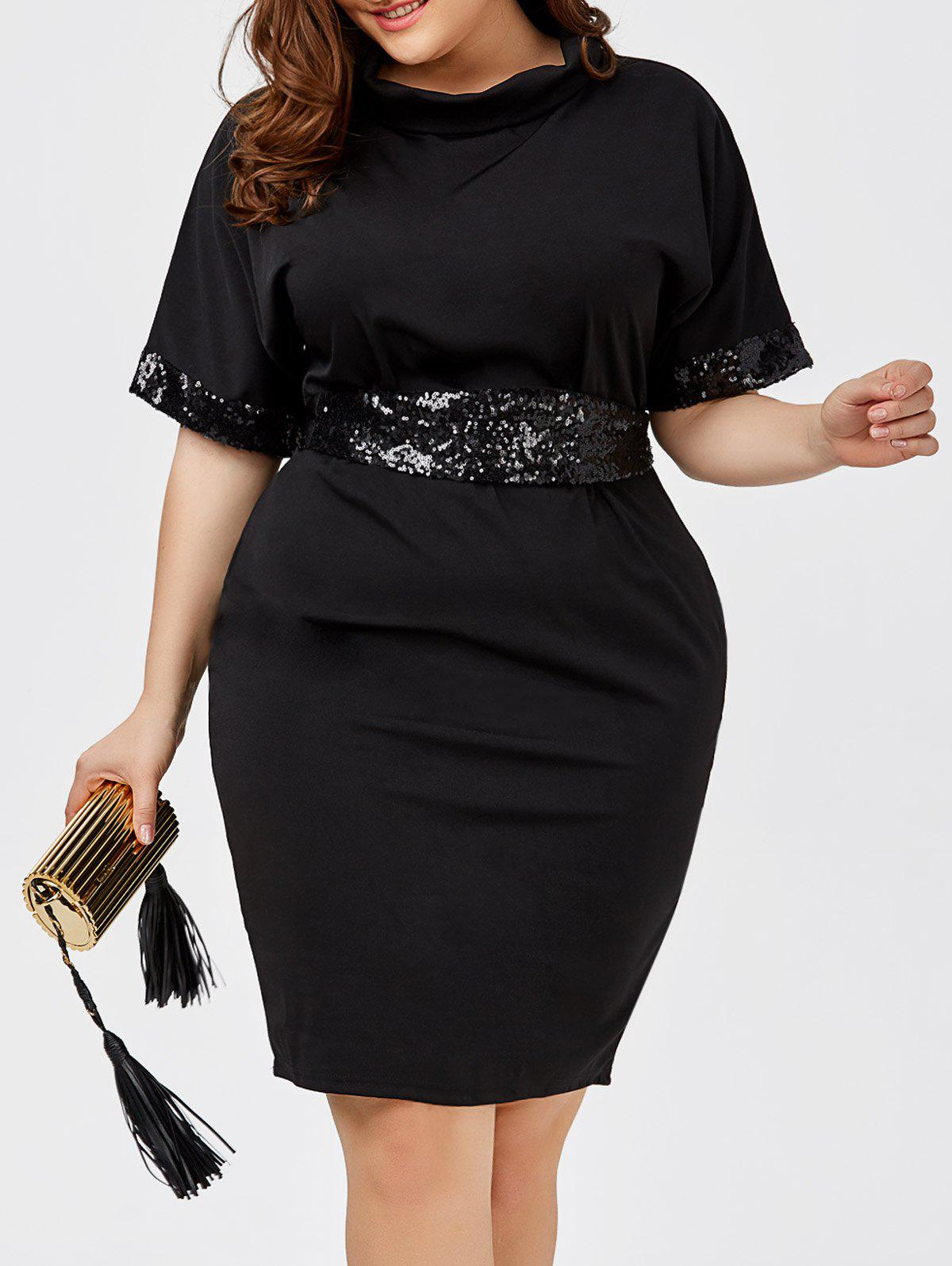 Sequined Belted Plus Size Sheath DressWOMEN<br><br>Size: 2XL; Color: BLACK; Style: Casual; Material: Cotton Blend,Polyester; Silhouette: Sheath; Dresses Length: Knee-Length; Neckline: Turtleneck; Sleeve Length: Short Sleeves; Embellishment: Sequins; Pattern Type: Solid; With Belt: Yes; Season: Spring,Summer; Weight: 0.4300kg; Package Contents: 1 x Dress  1 x Belt;