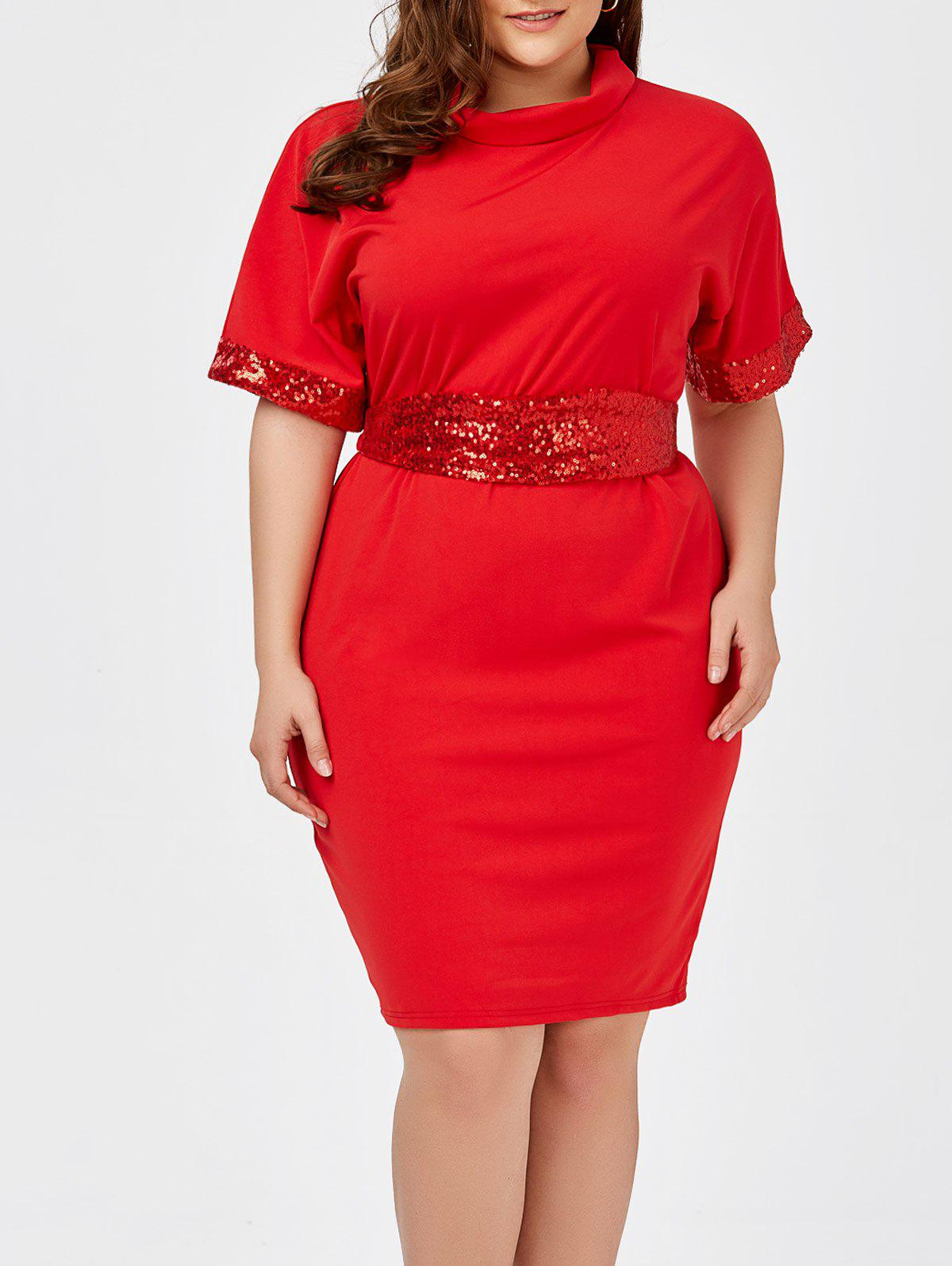 Sequined Belted Plus Size Sheath DressWOMEN<br><br>Size: 3XL; Color: RED; Style: Casual; Material: Cotton Blend,Polyester; Silhouette: Sheath; Dresses Length: Knee-Length; Neckline: Turtleneck; Sleeve Length: Short Sleeves; Embellishment: Sequins; Pattern Type: Solid; With Belt: Yes; Season: Spring,Summer; Weight: 0.4300kg; Package Contents: 1 x Dress  1 x Belt;