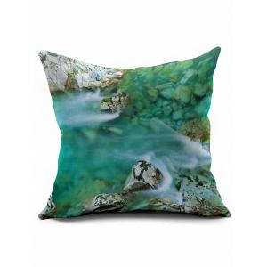 Stream Print Short Plush Square Pillow Case