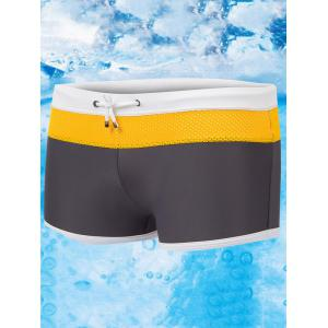 Color Block Drawstring Swimming Trunks - Gray - L