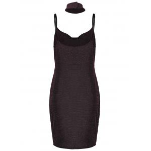 Lurex Spaghetti Straps Tight Party Dress with Chokers -