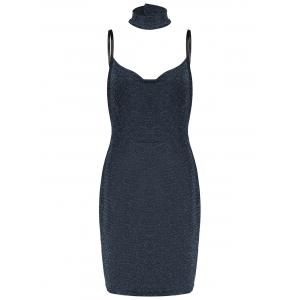 Lurex Spaghetti Straps Tight Party Dress with Chokers