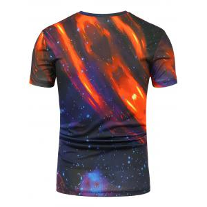 Galaxy Tie Dye Print Crew Neck T-Shirt - COLORMIX 3XL