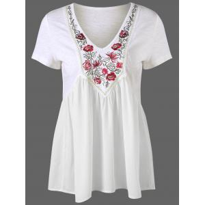 Embroidery Trim High Waist Peplum T-Shirt - White - M