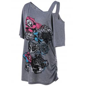 Skew Collar Rose Print Shirred T-Shirt - GRAY XL