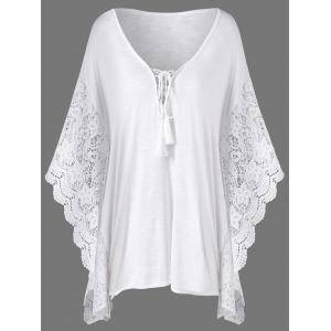 Plus Size Butterfly Sleeve Crochet Trim Blouse Lace Tops - White - Xl
