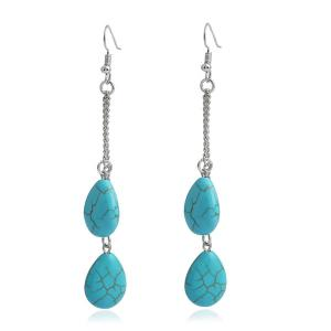 Artificial Turquoise Teardrop Earrings - Blue