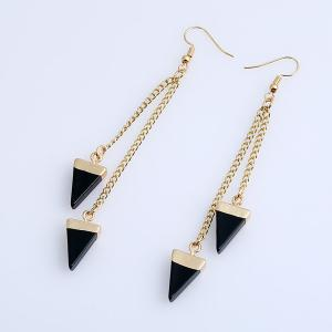 Vintage Triangle Chain Earrings - BLACK
