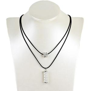 Artificial Leather Rope Rhinestone Ball Necklace - Silver