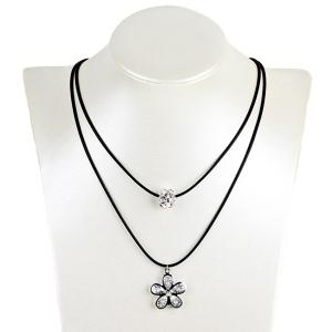 Rhinestone Ball Flower Layered Necklace