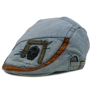 Skull Embellished Frayed Denim Cabbie Hat