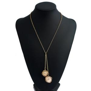Double Hollow Out Metal Intertwining Ball Necklace - Golden