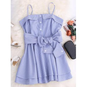 Spaghetti Strap Striped Mini Tunic Dress - Blue - L