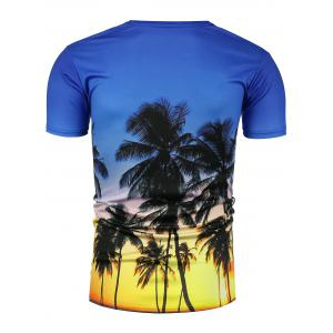 Crew Neck 3D Coconut Tree Hawaiian T-Shirt -