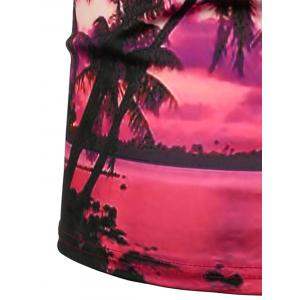 3D Palms Sunset Print Hawaiian T-Shirt -