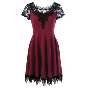 Lace Insert Party Skater Dress